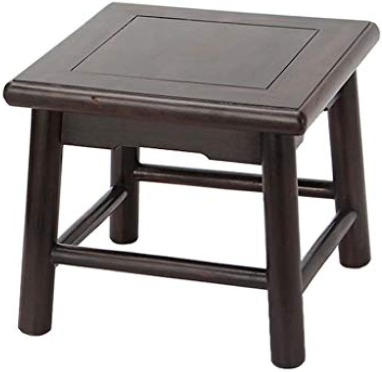 MCLY Bad Hocker, Schwarz Und Ebenholz Tragbare Anti-Rutsch-Massivholz Quadratischen Duschhocker, Zu Hause Leicht Zu Fu Hocker Waschen