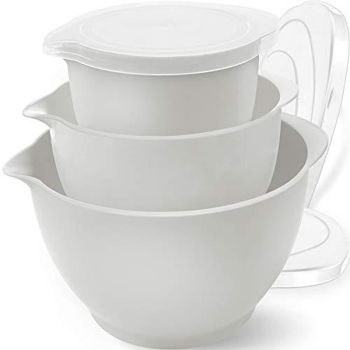 Bokzen Plastic Mixing Bowls with Lids for Kitchen, 3 Set Stackable Meal Prep Container with Pour Spout for Fruits, Salad, Ramen, Popcorn, Food Storage, Plastic Soup Bowls, BPA Free - Grayish-White