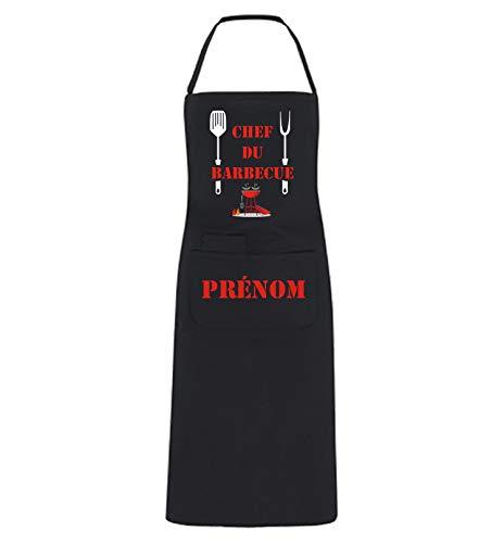 YONACREA - Tablier de Cuisine Personnalisable - Chef du Barbecue - Noir