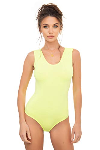 Evoni Body de mujer sin mangas de algodón, opaco. amarillo neón L