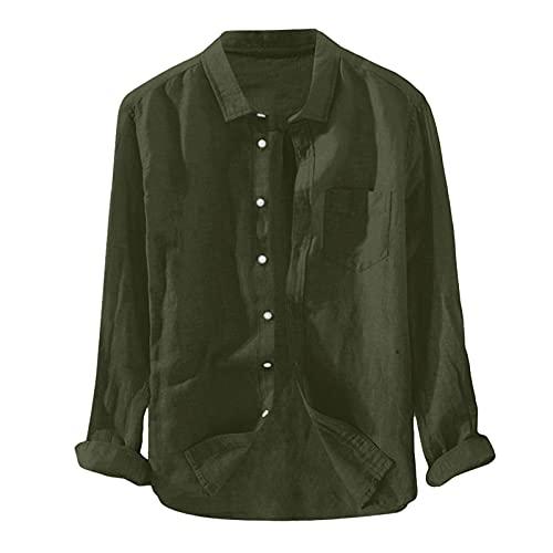 Lidiana Camisa de manga larga para hombre, camisa de verano, camisa de ocio, camisa de lino, corte regular, chaqueta de lino, chaqueta ligera para otoño e invierno, 59#Army Green, XL