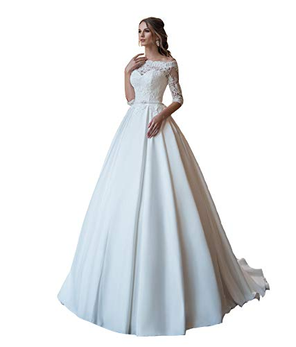 LOVEONLY Scoop Neck Ball Gown Off Shoulder Wedding Dresses for Bride Half Sleeves Satin Skirt Lace Top Princess Bridal Gowns White 16 Plus