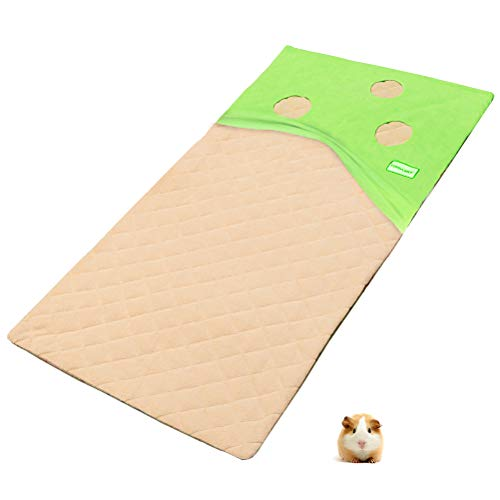 EXPAWLORER Guinea Pig Fleece Cage Liners - with Burrowing Pocket Hideout, Waterproof & Anti Slip Guinea Pig Bedding, Super Absorbent Pee Pad, for Small Animals