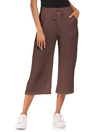 Wildtrest Womens Casual Loose Fit Linen Elastic Drawsting Waist Capri Pants Gaucho Capris(Dark Brown,Small)