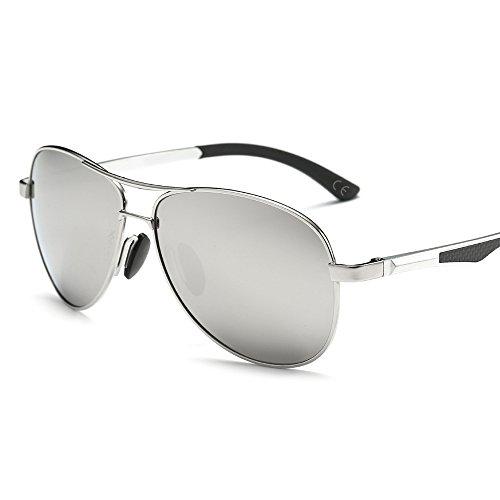 VeBrellen Premium Al-Mg Aviator Polarizzati Occhiali da Sole UV400 Unisex Specchiata Stile Aviatore (Silver Frame With Silver Lens)