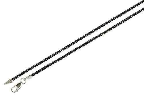 Criss-Cross-Kette aus 925 Sterling Silber geschwärzt diamantiert außergewöhnliches Geflecht SILBERMOOS Qualitätskette aus Italien 42 45 50 60 70 80 90 cm, Länge:90 cm
