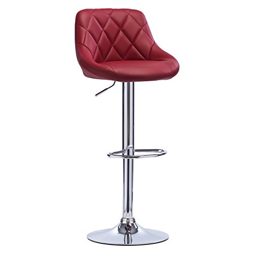 WOLTU BH23bd-1 1er Barhocker Barstuhl, leichte reinige Kunstleder, Gute gepolsterte Sitzfläche, Höhenverstellbar, 360° Drehbar, Farbwahl, in Bordeaux