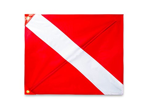 SeaGator Dive Flag for Scuba Diving Spearfishing Use with Float, Buoy, Boat, Pole Diver Down 20 x 24 in Florida Legal Removable Stiffening Pole Support Rod Easy to Use