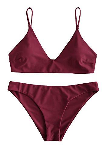 Zaful Bikini da donna composto da reggiseno push-up e slip a vita alta, con motivo floreale, costume da bagno estivo Tinta unita, colore vinaccia S
