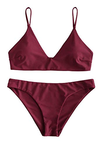 ZAFUL Damen Bikini Sets, Push-Up Spaghettiträger Bikini Obertiel Hoher Bund Pflanzenmuster Badehose Sommer,Einfarbig - Weinrot,S