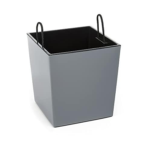 KREHER XXL Design Vaso per piante in plastica grigio lucido con inserto estraibile, dimensioni 40 x 40 x 41 cm