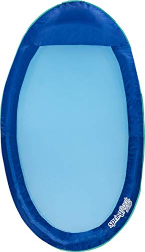 SwimWays Spring Float Inflatable Pool Lounger with HyperFlate Valve Blue