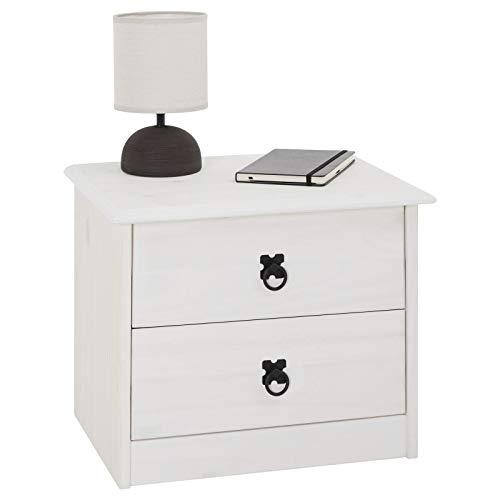 CARO-Möbel Nachtkommode RESIDENCIA mit 2 Schubladen I Nachttisch aus massiver Kiefer in weiß I Nachtschrank im Mexiko Stil, gebeizt und gewachst
