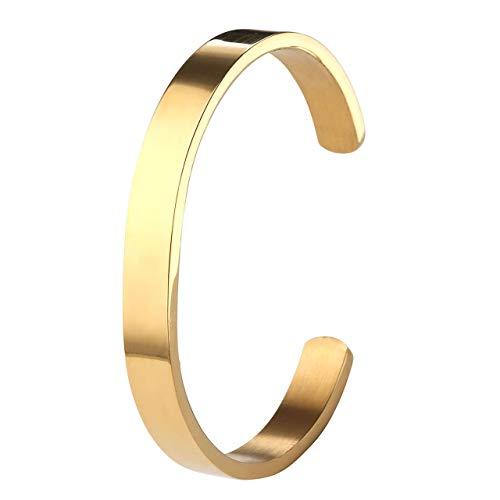 ZystaEdelstahl Armband Männer Frauen Armreif Damen Herren Armspange Silber Gold Schwarz Verstellbar (Gold-Damen)
