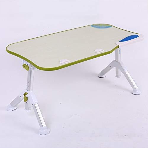 ZND Einfache Idee Tragbarer Stehpult Klappcomputertisch auf Bett Multifunktionsklappbarer Schreibtisch Höhenverstellbar mit Mausblende Lesen 60X33 cm, Grün, Ohne Lüfter