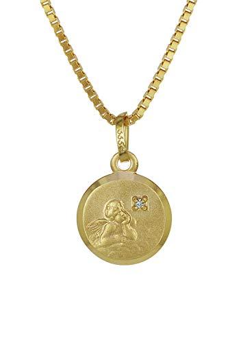 trendor Gold-Anhänger Amor mit Brillant liebevoller Halsschmuck aus Echtgold für Damen, dieses Schmuckstück ist eine tolle Geschenkidee, Halskette, 35932