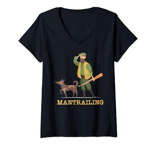 Damen Mantrailing Mantrailer Team Hund Hundesport Rettungshund T-Shirt mit V-Ausschnitt