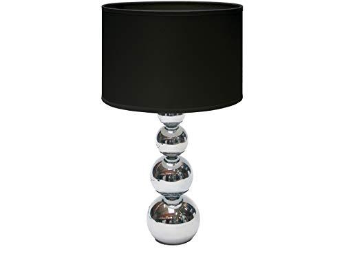 Moderne Tischleuchte MANDY Stoffschirm schwarz mit Touchfunktion dimmbar - inklusive Leuchtmittel