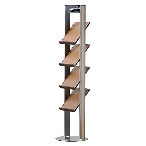 YUQIYU Piso Folleto A4 soporte de almacenamiento en rack rack de múltiples capas de suelo Revista Retro simple de la aleación de aluminio del archivo de almacenamiento en rack Libros del grano de made