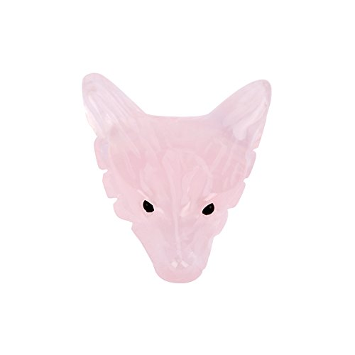 Akozon - Colgante de cuarzo rosa tallado en forma de lobo para decoración de piedra de curación de cristal rosa