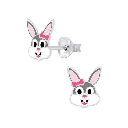 Laimons Pendientes infantiles de conejo gris blanco 8 mm x 7 mm plata de ley 925