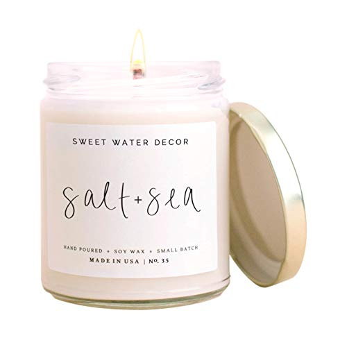 Sweet Water Decor Salt and Sea Candle | Sea Salt, Citrus, Amber, Musk, Beach Scented Soy Candles for Home | 9oz Clear Glass Jar, 40 Hour Burn Time, Made in The USA