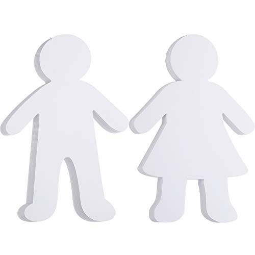 72 Pieces Paper Shapes White Paper Person Cutouts Blank Kid Shaped Cutouts for Art Class Project DIY Craft Supply, 5.88 Inch Width 8.8 Inch Height