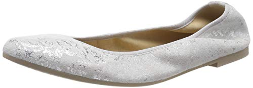 Tamaris Damen 1-1-22128-22 961 Geschlossene Ballerinas Silber (Silver Flower 961), 38 EU