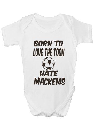 Amour Toon Hate Mackems/Newcastle United F.C~ Funny Body ~ Cadeau bébé fille/garçon Gilet - Blanc - 6-12 mois