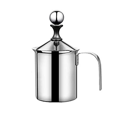 Zhenwo 400 Ml Milk Frother Manual, Double-Layered Stainless Steel Creamer, Milk Froth, Froth Pot, Coffee Whitener,400ml
