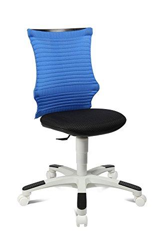 Topstar S'Neaker, mitwachsender Kinder-und Jugenddrehstuhl, Schreibtischstuhl für Kinder, Stoff, Blau/Schwarz/Weiß
