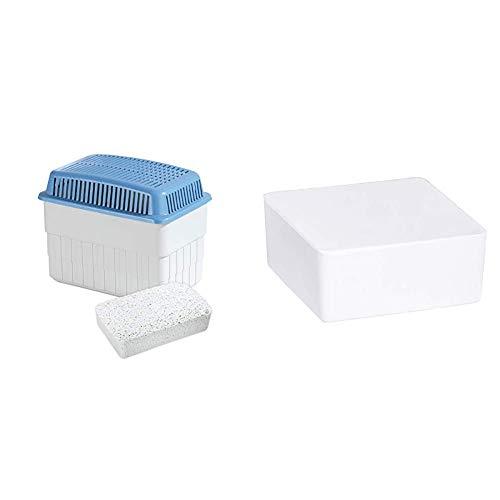WENKO Feuchtigkeitskiller mit 1 kg Granulatblock, Raumentfeuchter, fasst bis zu 1,4 l Feuchtigkeit, 24x16x15 cm, grau/blau & Nachfüller Raumentfeuchter Cube, 500 g Granulatblock, 10x5x10 cm, weiß