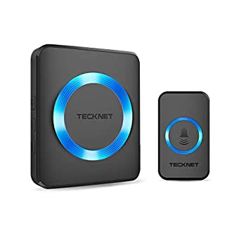 Wireless Doorbell TeckNet Plug-in Cordless Door Chime Kit With 1300ft Range 38 Chimes 4 Level Volume No Batteries Required for Receiver  Black 1-1