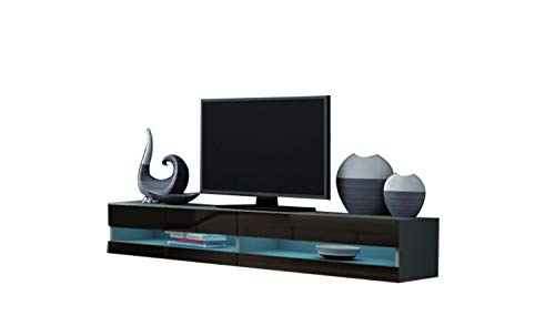 """MEBLE FURNITURE & RUGS Vigo New 180 LED Wall Mounted 71"""" Floating TV Stand (Grey/Black)"""