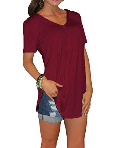 Yidarton Damen Sommer T-Shirt Basic Kurzarm Tops V-Ausschnitt Lockere Oberteile Solide Casual Shirts, Weinrot, M