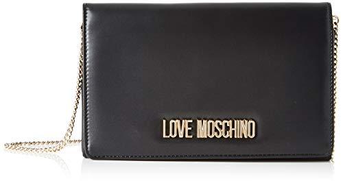 Love Moschino Borsa Metallic Pu, Tracolla Donna, (Nero), 14x6x22 cm (W x H x L)