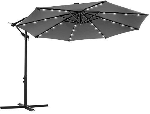 SONGMICS Sonnenschirm mit LED-Solar-Beleuchtung, Ampelschirm, Gartenschirm, 32 LED-Lämpchen, Ø 300 cm, mit Ständer, UV-Schutz bis UPF 50+, mit Kurbel, für Garten, Terrasse, grau GPU018G01