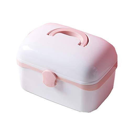 LF- Trousse de premiers soins pour bébé, petite boîte de rangement de médicaments multicouche portative enregistrer (Color : Pink)