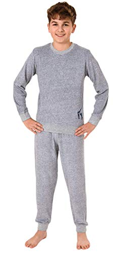 Cooler Jungen Frottee Pyjama Langarm Schlafanzug mit Bündchen - 62103, Farbe:grau,...