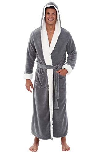 Alexander Del Rossa Men's Warm Fleece Robe with Hood, Plush Big and Tall Bathrobe, 1XL 2XL Steel Grey with Sherpa Accents (A0262STL2X)
