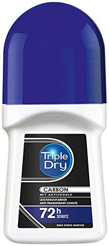 Triple Dry Carbon Anti-transpirant roll-on, deodorant tegen sterk transpiratie, deodorant met actieve kool voor 72 uur veilige bescherming, antibacteriële anti-transpirant, 50 ml