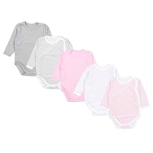 TupTam Baby Unisex Langarm Wickelbody Print / Uni 5er Pack, Farbe: Mädchen 1, Größe: 74