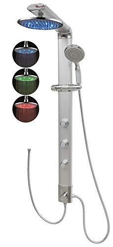 Duschpaneel ohne Armatur Massagedusche Led Regendusche Eckmontage Silber mit Massagedüsen Shower Panel