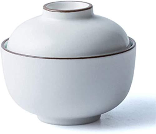 XUEXIU Porcelana Premium Plato De Arroz Postre Cuenco De Fideos Instantáneos Tazón De Sopa De Cuenco con Tapa Cuenco Al Vapor De Huevo Tazón (Color: Blanco, Tamaño: 11.8 * 9.3cm / 4 * 3INCH)