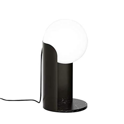 FYMDHB886 Tafellamp van glas, bolvorm, smeedijzer, eenvoudige kunst, basis van marmer, cilindervormig, zwart, metaal, slaapkamer, woonkamer, eetkamer, sfeer, lamp, decoratie, cadeau, lamp