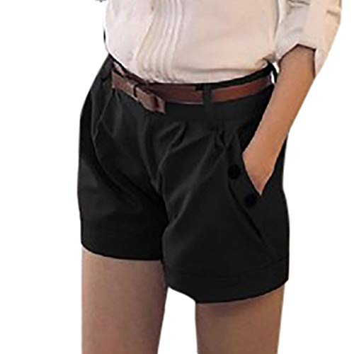 WOZOW Damen Kurze Hose Shorts Solid Falten Gefaltet Lose Loose A Line Cool Short Casual Military Stoffhose Trousers Pocket Bloomers Mini Hosen (XL,Schwarz)