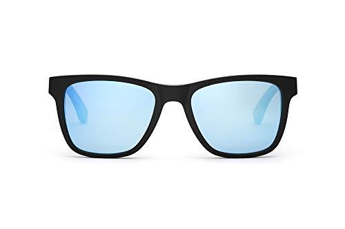 TAKE A SHOT Holz-Sonnenbrille Herren eckig blau verspiegelt, TR90 Sonnenbrille schwarz, Damen Sonnenbrille Holz Clever Hans