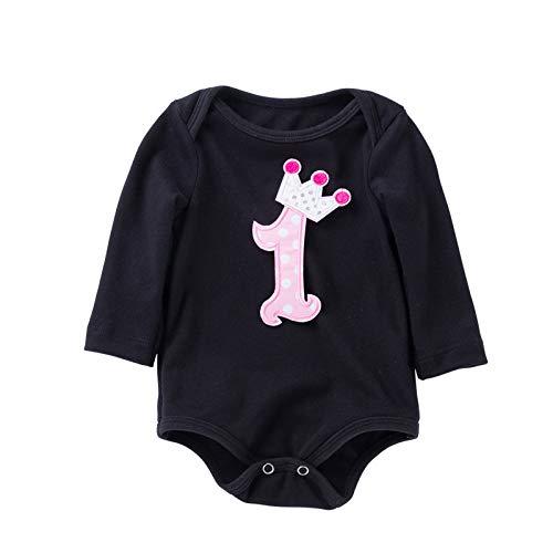 Conjunto de ropa de algodón de manga larga de San Valentín con corazón negro, para bebés y niños y niñas, de 0 a 24 m