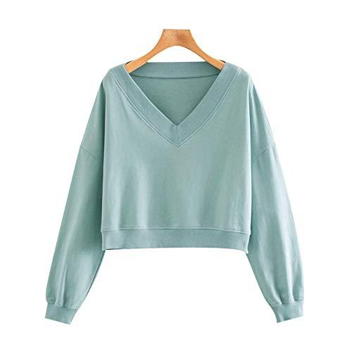 Moda Sudaderas Jersey Sweater Moda para Mujer Sudaderas Sueltas Recortadas Vintage Cuello En V Manga Larga Jerseys Femeninos Tops Elegantes L Aspicture