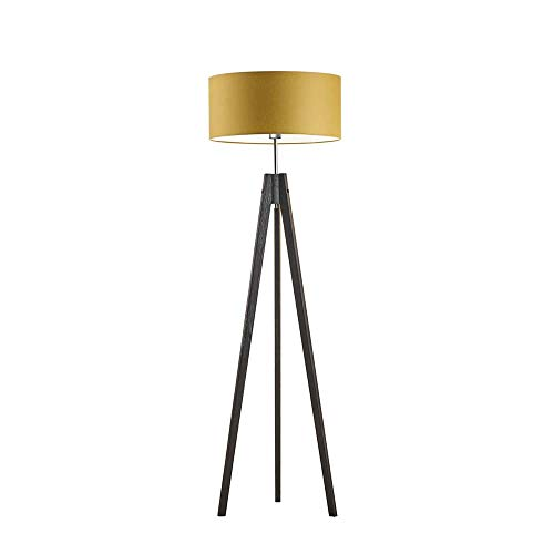 HAITI - Lámpara de pie de madera, pantalla de lámpara, color amarillo mostaza, marco de madera negra
